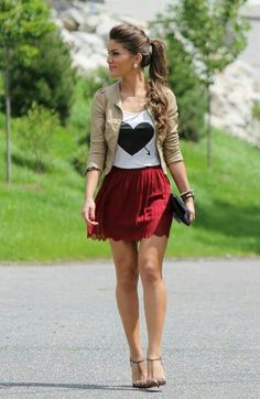 Very cute red skirt (which needs to be longer) and heart top with beige jacket