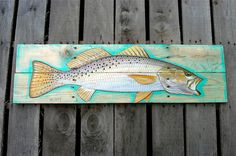 Fish trout painting on hand made wood panel by ADorsettOriginals