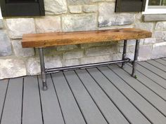 Reclaimed White Oak Bench with metal pipe legs. Reclaimed from old barn door sides the white oak is made for the outdoors. Comes with a clear oil based finish. PLEASE NOTE: -This is a custom order. Pipe Furniture, Industrial Furniture, Outdoor Furniture, Outdoor Decor, Furniture Outlet, Rustic Furniture, Garden Furniture, Antique Furniture, Office Furniture