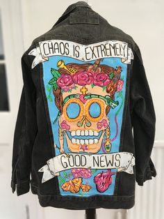 Hey, I found this really awesome Etsy listing at https://www.etsy.com/listing/475207448/frida-kahlo-painted-denim-jacket-hand