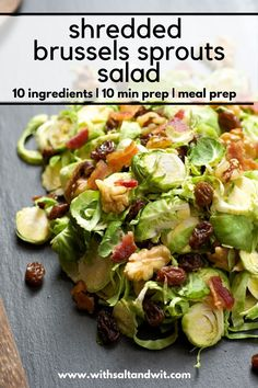 Brussel sprout salad, sprouts salad, brussels sprout, food porn, cooking re Lunch Meal Prep, Healthy Meal Prep, Healthy Soup, Healthy Eating, Healthy Recipes, Healthy Foods, Healthy Life, Sweet Salad Dressings, Salad Dressing Recipes