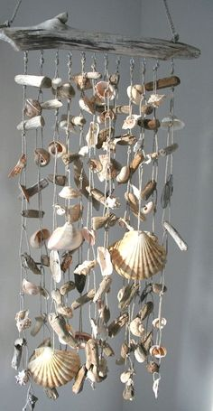 Crafts Shells Unique Sea Shell Craft DIY Ideas You Will Love Unique Sea Shell Craft DIY Ideas You Will approach to renovate your house without a big expense is to update the flooring. Seashell Wind Chimes, Diy Wind Chimes, Seashell Art, Seashell Crafts, Beach Crafts, Home Crafts, Diy And Crafts, Arts And Crafts, Nature Crafts