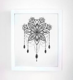 Ink Drawing Mandala Ornate Illustration 8x10 by RobinElizabethArt, $95.00