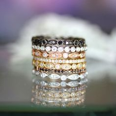 Diamond Stack- I love the idea of mixed gold tone stack with the traditional solitaire