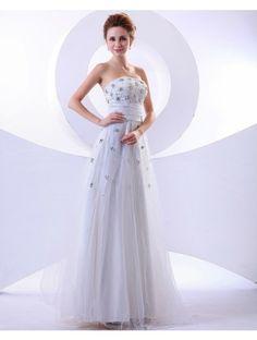 Wedding Dresses Wedding Dresses,Stkittsipa A-line Strapless Sleeveless Tulle White Wedding Dress With Beading #Wedding#Dresses