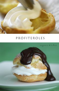 How to Make Profiteroles - Cream Puffs & Creme Chantilly Recipe - Eugenie Kitchen my favorite desert from England Desserts Français, Delicious Desserts, Dessert Recipes, Yummy Food, Eclairs, Gordon Ramsay, Cream Puff Filling, Ice Cream, Recipes With Whipping Cream