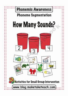 Your students will love the engaging pictures in this activity designed to teach phoneme segmentation. Make, Take Teach How Many Sounds? Phonics Activities, Alphabet Activities, Preschool Alphabet, Alphabet Crafts, Language Activities, Speech And Language, Language Arts, Phonological Awareness Activities, Teaching Reading