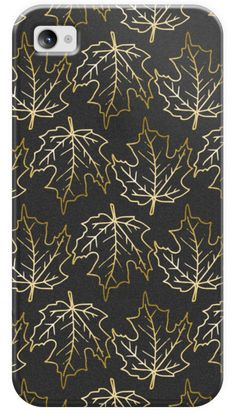 Casetify iPhone 4/4S Classic Snap Case - Gold Leaves, Fall / Autumn Pattern by Katie Clark #Casetify