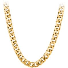Men's 24 Cuban Neck Chain in 10K Yellow Gold ($3,233) ❤ liked on Polyvore featuring men's fashion, men's jewelry, men's necklaces, yellow, mens watches jewelry, mens chains, mens gold chain necklace, mens necklaces and mens chain necklace