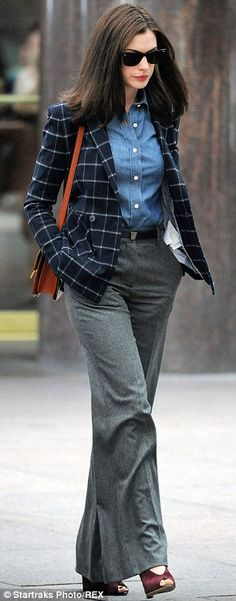 Anne Hathaway showing off some preppy chic attire