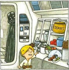 Dark Vador et fils (Jeffrey Brown) Darth Vader et son (Jeffrey Brown) Star Wars Meme, Star Wars Comics, Star Wars Witze, Star Wars Cartoon, Darth Vader Y Su Hijo, Darth Vader And Son, Star Wars Karikatur, Use The Force Luke, Cute Stars