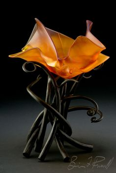 Brian Russell, 2010; cast glass and forged steel; 19 x 16 x 14 inches