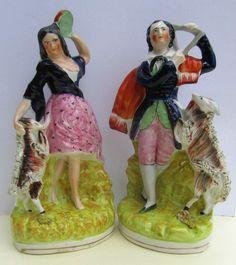 Pair of Staffordshire dancing figures, Esmerelda/Gringoire with goats, c1844