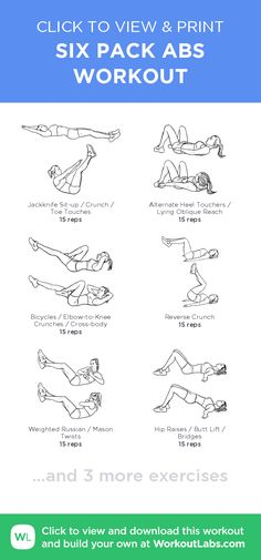 ●SIX PACK ABS WORKOUT● – click to view and print this illustrated exercise plan created with #WorkoutLabsFit