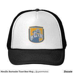 Metallic Bartender Toast Beer Mug Shield Retro Trucker Hat. Retro trucker hat with a metallic styled illustration of a bartender toasting a mug of beer looking up set inside a shield on isolated white background. #truckerhat #bartender #beer