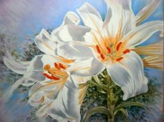 painting oil on canvas/Aurora Lunic Aurora, Oil On Canvas, Lily, Artist, Painting, Kunst, Painting Art, Lilies, Paint
