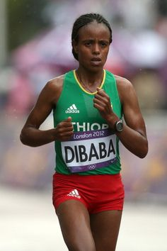 News Photo: Mare Dibaba of Ethiopia competes during the Womens…