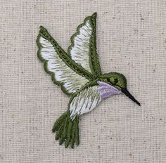 "Hummingbird Iron on Applique High quality, detailed embroidery applique. Can be sewn or ironed on. Great for bags, hats, clothing, and more! Measures 1-3/4"" x 2-3/8"" or 4.4cm x 6.03cm"