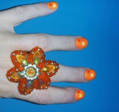 Beads Embroidery Ring  Kaleidoscope by IzabelaCichocka on Etsy