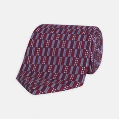 Ancient Shapes Maroon and Lilac Printed Silk Tie