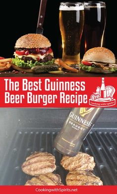 WMF Cutlery And Cookware - One Of The Most Trustworthy Cookware Producers The Best Guinness Beer Burgers Recipe. These Thick, Juicy Guinness Burgers Are Moist And Tasty. The Recipe Is Quick And Easy And Soon To Be A Favorite. Best Burger Recipe, Burger Recipes, Beef Recipes, Real Food Recipes, Great Recipes, Vegan Recipes, Cooking Recipes, Burger Ideas, Cooking Tips