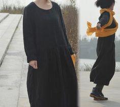 225---Heavy Weight Textured Linen Dress, Made to Order.
