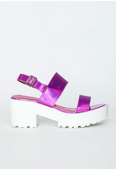Missguided - Waverly Pink Holographic Platform Sandals
