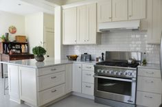 Classic kitchen with subway tile, Kabinart cabinetry is Mission Maple Starlite pc drawer front All White Kitchen, New Kitchen, Kitchen Ideas, Slate Coffee, White Kitchen Inspiration, Subway Tile Kitchen, New Cabinet, Custom Cabinetry, Home Renovation