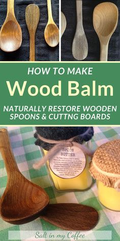 Restore your dull and dry wooden spoons and cutting boards with this easy and food-safe wood balm (aka Spoon Butter). Unlike most recipe, this one contains no mineral oil - a derivative of petroleum! Homemade Cleaning Products, Cleaning Recipes, House Cleaning Tips, Natural Cleaning Products, Cleaning Hacks, Cleaning Supplies, Spring Cleaning, Free Printable Gift Tags, Natural Kitchen