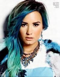 Demi Lavato and her blue dip dyed hair.