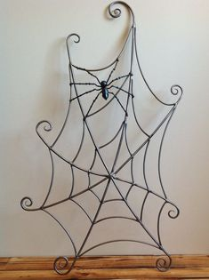 Spiderweb and spider forged steel sculpture metal wall by OddTwist, $335.00