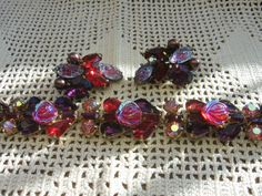 Vintage KRAMER Molded Ruby Carnival Glass Clip Earrings w/ Rose Rhinestone Bracelet