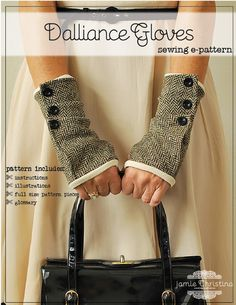a fingerless glove sewing pattern that features fabric folds buttoned to the fully lined glove. These flirtatiously fun gloves can be made with a knit or woven fabric. A charming way to keep your hands warm! Wrist Warmers, Hand Warmers, Diy Clothing, Sewing Clothes, Fingerless Mitts, Moda Casual, Refashion, Diy Fashion, Sewing Patterns