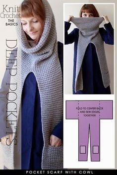 http://www.diaryofacreativefanatic.com/2014/08/pocket-scarves-to-knit-and-crochet.html