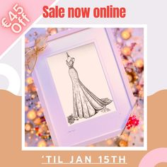 💕Online SALE on NOW. Amazing €45 OFF during our January Sale. Available only 'til January 15th 💕 I love giving something nice away this time of year, there are lots of birthdays and anniversaries this time of year and they deserve to be celebrated. weddingdressink.com/new-shop #januarylove #weddingdressink #januarysale #artsale #luxurygiftvoucher #insta_ireland #buyirish #Irishsales #wicklow #ireland #shoplocal #weddingdresssketch