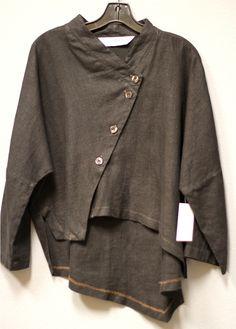 Itemz Chris Baumgartner Artsy Lagenlook Linen Asym Shirt Jacket Black OSFA | eBay