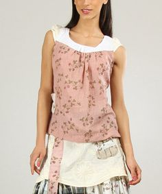 Look what I found on #zulily! Old Pink & White Gathered Scoop Neck Top by Ian Mosh #zulilyfinds