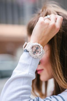 Top 5 reasons to own the G-Shock watch. Made popular by NASA this watch is stylish and fashion forward enough for us girls to wear. Casio G Shock Watches, Wrist Watches, Gold G Shock, Baby G Shock, Trendy Suits, G Watch, How To Pose, Clothing Co, Digital Watch