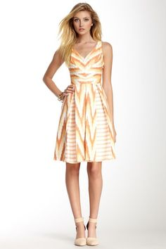 Abstract Print V-Neck Dress by Eva Franco. Love the pleats!
