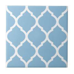 Sky Blue Moroccan Quatrefoil Pattern Ceramic Tile