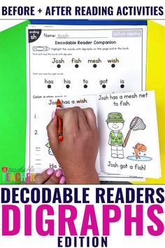Are you looking for the PERFECT decodable blends readers?? Here they are! These no prep, fold-and-go decodable readers use only the targeted consonant digraphs words and sight words in each reader. They're perfect for beginning readers because they are printable, require no prep, and include pre-reading and post-reading activities. No worries about germ-sharing here! Every student can have their own decodable reader and extension activities – with limited paper on your end! Cvc Words, Sight Words, Post Reading Activities, Books For Beginning Readers, Consonant Digraphs, List Of Skills, Word Families, Learn To Read, Student Learning