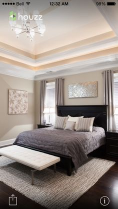 Bed with windows on each side headboard