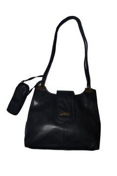 Italian leather purse, Vintage Italian purse, Dark charcoal handbag, 90's Handbag, 1990 Italian shoulder bag, 1990's Italian leather bag,