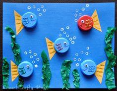 bottlecap crafts | Bottle Cap Fish | Fun Family CraftsFun Family Crafts #bottlecapcrafts #teachercrafts
