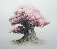 """Watercolor tattoo, with something """"carved"""" in the bark.      Bonsai Watercolor 01 by Masakonen"""