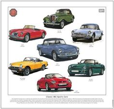 CLASSIC MG SPORTS CARS - FINE ART PRINT - TD MGA MGB Midget MGC MGF & RV8 images | eBay Motors, Parts & Accessories, Manuals & Literature | eBay!