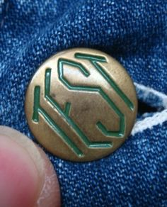 Vintage TEST workwear button (note: TS)