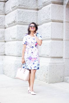 Love_Playiing_Dressup, Shein, floral dress, rose gold satchel, henri bendel, ootd, what to wear to office, corporate dress code, girl boss, smile, white pumps, slimming dress, petite, boston blogger, extrapetite, most pinned photo, street style