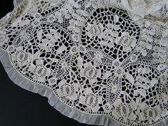 Vintage Irish Crochet Dress c.1920 Art Deco - scalloped hem with tulle ruffle and picot edge