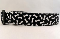 Awesome White Bones on Black Dog Collar by Maltipaws on Etsy, $13.25